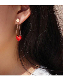 Fashion Rose Gold+red Heart Shape Decorated Tassel Earrings