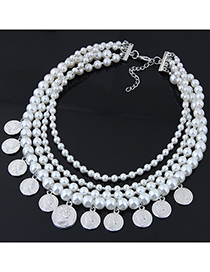 Fashion White+silver Color Multi-layer Design Full Pearl Necklace