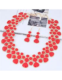 Fashion Red Full Diamond Decorated Jewelry Set