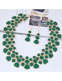 Fashion Green Full Diamond Decorated Jewelry Set