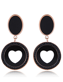 Fashion Black Hollow Out Design Round Shape Earrings