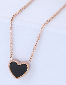 Fashion Rose Gold+black Heart Shape Decorated Necklace