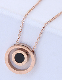Fashion Rose Gold Round Shape Pendant Decorated Necklace