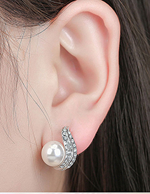 Fashion White Diamond&pearl Decorated Earrings
