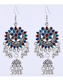 Sweet Blue+red Bells Pendant Decorated Tassel Earrings