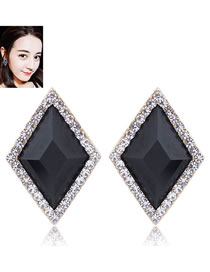 Fashion Black Rhombus Shape Decorated Earrings