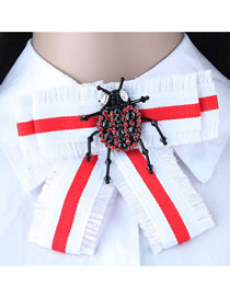 Fashion Red+white Beetle Shape Decorated Bowknot Brooch