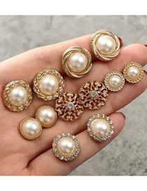 Fashion Gold Color Pearl Decorated Earrings (12 Pcs )