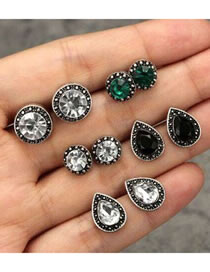 Fashion Silver Color Water Drop Shape Decorated Earrings (12 Pcs )