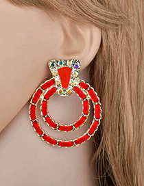 Elegant Red Double Circular Rings Shape Earrings