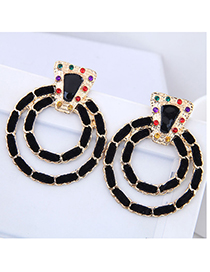 Elegant Black Double Circular Rings Shape Earrings