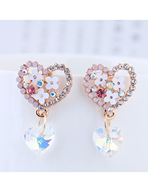 Sweet Gold Color+pink Flower Decorated Heart Shape Earrings