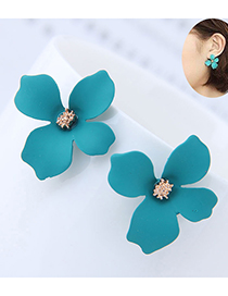 Sweet Pale Blue Flower Shape Design Pure Color Earrings