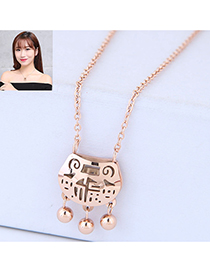 Fashion Rose Gold Hollow Out Design Pure Color Necklace