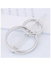 Fashion Silver Color Round Shape Decorated Pure Color Hair Clip