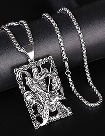 Fashion Silver Metal Guan Gonglong Necklace