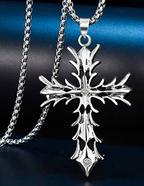 Fashion Silver Metal Flame Cross Long Necklace