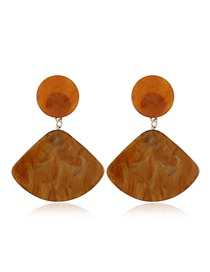 Fashion Coffee Color Scalloped Earring