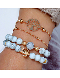 Fashion Gold Life Tree Turtle Beads Four-piece Bracelet
