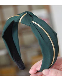 Fashion Green Gold Strip Cross Wide Headband