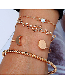 Fashion Gold Curved Moon Branch Four-piece Bracelet