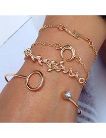 Fashion Gold Crescent Moon Lightning Leaf Circle Four-piece Bracelet