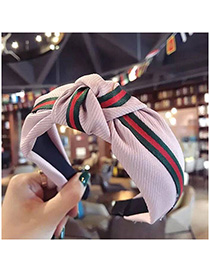 Fashion Pink Stitching Stripe Knotted Wide-brimmed Headband
