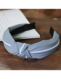 Fashion Gray Splicing Knotted Widened Headband