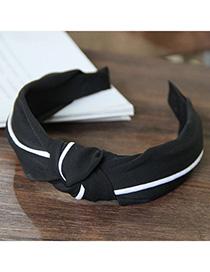 Fashion Black Splicing Knotted Widened Headband