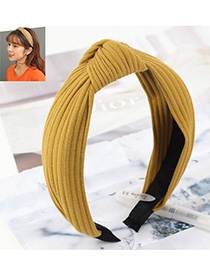 Fashion Yellow Knitted Cross Knotted Headband