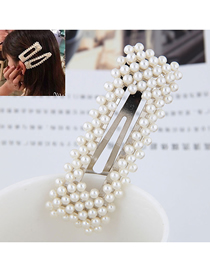Fashion Silver (silver Bottom) Pearl Square Hairpin