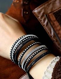 Fashion Black Map Stone Elastic Men's Bracelet
