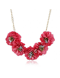 Fashion Red Cloth Flower Necklace