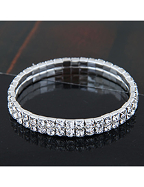 Fashion Silver (two Rows) Metal Diamond Bracelet