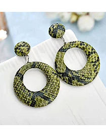 Fashion Green Snakeskin Large Circle Earrings