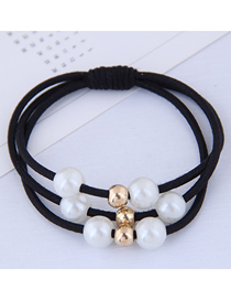 Fashion Black Pearl Hair Ring