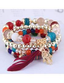 Fashion Red Crystal Bead Palm Feather Multilayer Bracelet