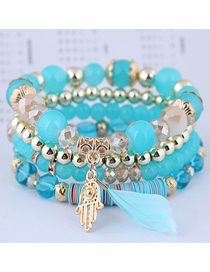Fashion Green Crystal Bead Palm Feather Multilayer Bracelet