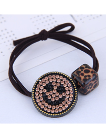 Fashion Black Smiley Leopard Square Hair Rope
