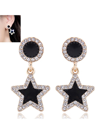 Fashion Gold Pentagram With Stud Earrings