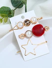 Fashion Red Metal Five-pointed Star Pearl Three-piece Hair Clip