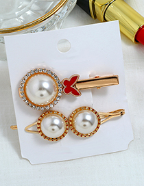 Fashion Red Pearl Hair Clip Two-piece