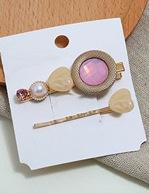 Fashion White Heart-shaped Two-piece Hair Clip