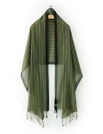Fashion Green Stripe Pattern Decorated Scarf