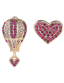 Fashion Plum Red Full Diamond Decorated Heart Earrings