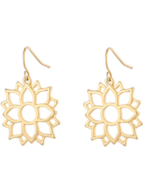 Fashion Gold Color Hollow Out Design Pure Color Earrings