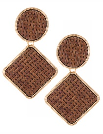 Fashion Brown Geometric Shape Decorated Earrings