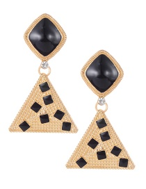 Fashion Black Triangle Shape Decorated Earrings
