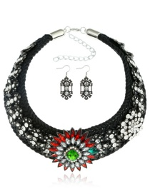 Fashion Black Full Diamond Decorated Jewelry Sets