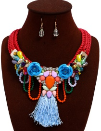 Fashion Red+blue Flower Shape Decorated Tassel Jewelry Sets